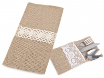 Jute Pouch for Silverware 11x20 cm