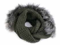 Knit Hood Scarf with Artificial Fur