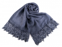 Scarf with Lace 70x195 cm