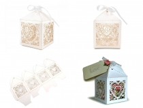 Paper Favor Box with Ribbon 5.5x5.5 cm