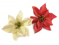 Christmas Artificial Poinsettia Ø14 cm with Lurex