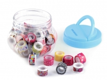 Patterned Self-adhesive Tapes mix width 12 mm in Jar