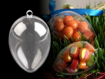 Clear Plastic Fillable Egg Ornament 40x60 mm