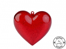 Clear Acrylic Fillable Red Heart Ornament 80x80 mm