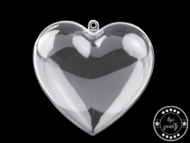 Clear Plastic Fillable Heart Ornament 10x10 cm