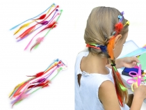 Kids Faux Hair Clips with Feathers