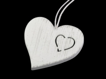 Wood Hang Heart and Bird Decor