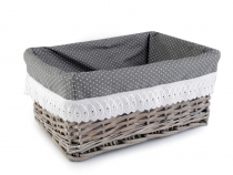Wicker Basket with Lining 24x34 cm