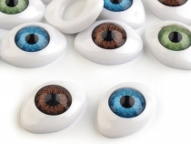 Oval Plastic Doll Eyes Glue on 16x23 mm