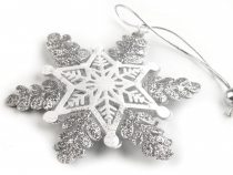 Metal Hanging Decoration Snowflake with Glitter