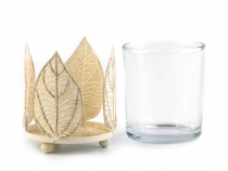 Candle Glass Holder with Leaves - small