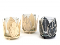 Candle Glass Holder with Leaves - large