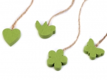 Hang Wood Decoration on String - Bird, Butterfly, Flower, Heart -Green