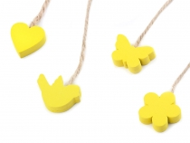 Hang Wood Decoration on String - Bird, Butterfly, Flower, Heart Yellow