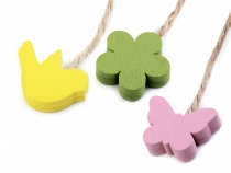 Wood Hang Decoration on String - Bird, Butterfly, Flower, Heart