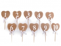 Jute Heart Pick with Numbers
