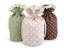Linen Gift Pouch Bag with Lace and Polka Dots 13.5x18.5 cm
