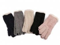 Ladies Knitted Gloves with Fur