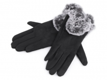 Ladies Gloves with Faux Fur