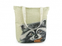 Canvas Tote Bag fox, raccoon, elephant, unicorn, flowers 35x35 cm