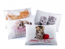 Small Throw Pillow / Cushion with Filling - Dog, Cat 20x30 cm