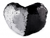 Heart Pillow / Cushion with Reversible Sequins 30x40 cm