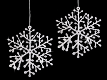 Hanging Snowflake with Glitter Ø8.5 cm