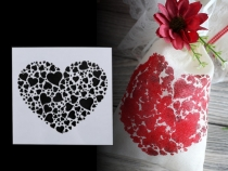 Plastic Drawing Stencils - Heart, Signs, Flowers, Ornaments 13x13 cm