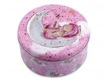 Middle Round Tin Box / Cookie, Candy Jar  - Unicorn, Mermaid