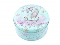 Round Tin Box / Cookie, Candy Jar Unicorn