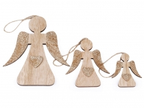 Wooden Angel Set with Glitter 3 pcs