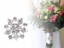 Brooch / Wedding Adornment Rhinestone Flower, Snowflake