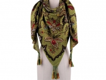 Scarf with Tassels, Paisley Flowers 130x130 cm