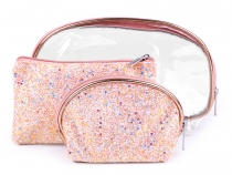 Cosmetic Bag with Glitter and AB effect, set of 3 pcs