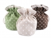 Linen Gift Pouch Bag with Lace and Polka Dots 12x12.5 cm