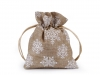 Christmas Gift Bag with Snowflakes and Glitter 10x13 cm